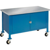 Global Industrial™ 60 x 30 Mobile Workbench - Security Cabinet, Stainless Steel Square Edge BL