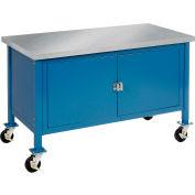 """Global Industrial™ Atelier d'armoire mobile - Bord carré en acier inoxydable, 72""""W x 30""""D, Bleu"""
