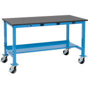Global Industrial™ 72 x 36 Mobile Lab Workbench - Power Apron - Phenolic Resin Safety Edge Blue