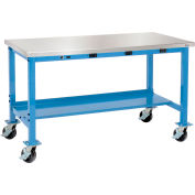 Global Industrial™ 72 x 30 Mobile Lab Workbench - Power Apron - Stainless Square Edge - Blue