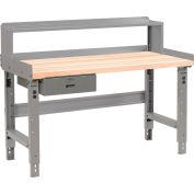 Global Industrial™ 72 x 30 Adj Height Workbench w/Drawer & Riser, Maple Square Edge Top - Gray