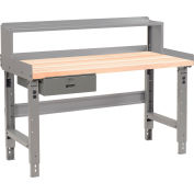 """Global Industrial™ Workbench w/ Maple Square Edge Top & Riser, 48""""W x 30""""D, Gray"""