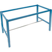 """96""""W x 30""""D Steel Square Tubular Height Adjustable Production Workbench Frame - Blue"""
