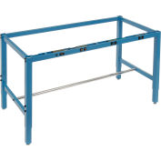 Global Industrial™ 96x30 Steel Square Tube Height Adj Production Workbench, Electric Frame Blue