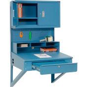"""Global Industrial™ Wall Mount Shop Desk w / Pegboard &Cabinet, 34-1/2""""W x 30""""D, Bleu"""