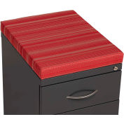 Interion® 2 Drawer Box/File Pedestal - Charcoal with Red Cushion Top