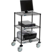 "Nexel™ 3-Shelf Mobile Wire Printer Stand, 24""W x 18""D x 39""H, Black"