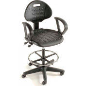 Interion® 5-Way Black Adjustable Ergonomic Stool With Arms
