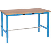 Global Industrial™ 96 x 36 Adjustable Height Workbench - Power Apron, Shop Top Square Edge Blue