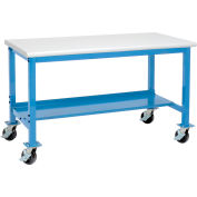 """72""""W x 36""""D Mobile Adjustable Height Workbench - Plastic Laminate Safety Edge - Blue"""