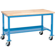 """72""""W x 36""""D Mobile Adjustable Height Workbench - Maple Butcher Block Safety Edge - Blue"""