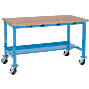 Global Industrial™ 60x30 Mobile Production Workbench - Power Apron - Shop Top Square Edge Blue