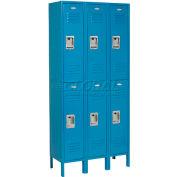 CasierInfinity™ à deux niveaux,12x18x36, 6portes, prêt à assembler, bleu