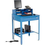 "Global Industrial™ Sloped Shop Desk w / Pigeonhole Riser, 34-1/2""W x 30""D, Bleu"