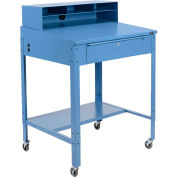 "Global Industrial™ Sloped Mobile Shop Desk w / Pigeonhole Riser, 34-1/2""W x 30""D, Bleu"
