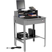 "Global Industrial™ Shop Desk - Pigeonhole Riser 34-1/2""W x 30""D x 38""H Sloped Surface - Gray"