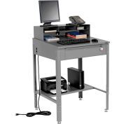 """Global Industrial™ Sloped Shop Desk w / Pigeonhole Riser, 34-1/2""""W x 30""""D, Gris"""