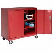 Sandusky Mobile Work Height Storage Cabinet TA2R462442 Double Door - 46x24x48, Red