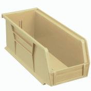 "Global Industrial™ Plastic Stack & Hang Bin, 4-1/8""W x 10-7/8""D x 4""H, Beige - Pkg Qty 12"