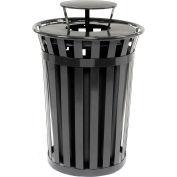 Global Industrial™ poubelle extérieure en acier lattes avec couvercle de bonnet de pluie, 36 gallons, noir