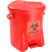 Eagle 6 Gallon Poly Safety Biohazardous Waste Can, Red - 943BIO