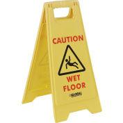 Panneau pour plancherGlobal Industrial™,2 côtés, « Caution – Wet Floor »