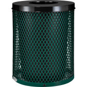 Global Industrial™ Outdoor Diamond Steel Trash Can With Flat Lid, 36 Gallon, Green