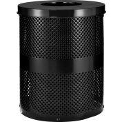 Global Industrial™ poubelle extérieure en acier perforé avec couvercle plat, 36 gallons, noir