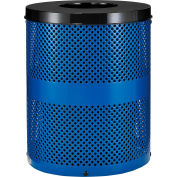 Global Industrial™ Outdoor Perforated Steel Trash Can With Flat Lid, 36 Gallon, Blue