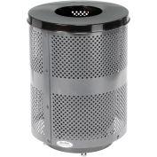Global Industrial™ poubelle extérieure en acier perforé avec couvercle plat et base, 36 gallons, gris