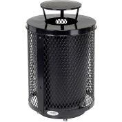 Global Industrial™ Outdoor Diamond Steel Trash Can W/Rain Bonnet Lid & Base, 36 gallons, Noir