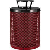 Global Industrial™ outdoor Diamond Steel Trash Can with Rain Bonnet Lid, 36 gallons, Rouge