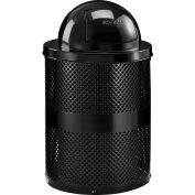 Global Industrial™ poubelle extérieure en acier perforé avec couvercle dôme, 36 gallons, noir