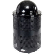 Global Industrial™ Deluxe Thermoplastic 32 Gallon Perforated Receptacle w/Dome & Base - Black