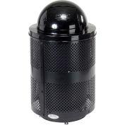 Global Industrial™ poubelle extérieure en acier perforé avec couvercle dôme & base, 36 gallons, noir