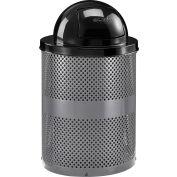 Global Industrial™ poubelle extérieure en acier perforé avec couvercle dôme, 36 gallons, gris