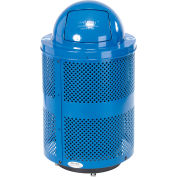 Global Industrial™ Deluxe Thermoplastic 32 Gal Perf Recycling Receptacle w/Dome Lid & Base - BL