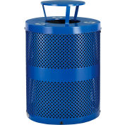 Global Industrial™ Thermoplastic Perforated Recycling Receptacle W/ Rain Bonnet, 36 Gal. Cap.