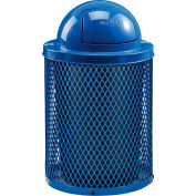 Global Industrial™ Thermoplastic 36 Gallon Mesh Recycling Receptacle w/Dome Lid - Blue