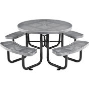 """Global Industrial™ 46"""" Round Outdoor Steel Picnic Table, Perforated Metal, Gray"""