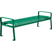 Global Industrial™ 8 ft. Outdoor Park Bench without Back - Steel Slat - Green
