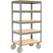 Global Industrial™ Easy Adjust Boltless 5 Shelf Truck 60x24 W/ Wood Shelves, Pneumatic Casters