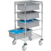 """Global Industrial™ Chrome Wire Cart With (4) 6""""H Gray Grid Containers 21x24x40"""