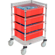 """Global Industrial™ Chrome Wire Cart With (4) 6""""H Red Grid Containers 21x24x40"""