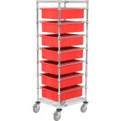 """Global Industrial™ Chrome Wire Cart With (7) 6""""H Red Grid Containers, 21x24x69"""