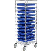 """Global Industrial™ Chrome Wire Cart With (11) 3""""H Blue Grid Containers, 21x24x69"""