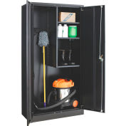 """Global Industrial™ Janitorial Cabinet Easy Assembly, 36""""W x 18""""D x 72""""H, Black"""