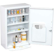 """Global Industrial™ Medicine Cabinet with Pull-Out Shelf, 18""""W x 8""""D x 27""""H, White"""