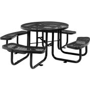 """46"""" Round Outdoor Steel Picnic Table - Expanded Metal - Black"""