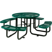 """Global Industrial™ 46"""" Round Outdoor Steel Picnic Table, Expanded Metal, Green"""